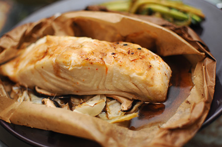 Halibut Cooked in Parchment Paper