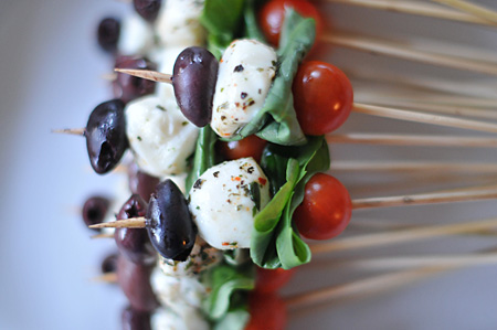 Tomato, Olives and Mozzarella Skewers by Carl Mindling